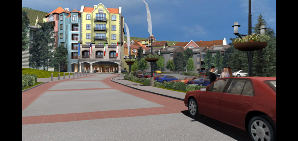 Project: Master redevelopement plan, Lionshead Village, Vail Colorado. Architecture by 4240 Architects